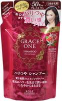 """Kose Cosmeport """"Grace One"""" Шампунь для волос """"Упругость и сияние"""" для кожи после 50 лет, без силикона, с ароматом роз и фруктов, запасной блок, 330 мл."""