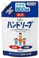 NIHON Detergent «Wins Hand soup» Семейное антибактериальное крем-мыло для рук, с экстрактом алоэ, запасной блок, 600 мл.