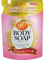 """NIHON """"Wins Body Soup peach"""" Крем-мыло для тела с экстрактом листьев персика и богатым ароматом, мягкая упаковка, 400 мл."""