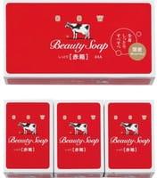 "COW ""Beauty Soap"" Молочное туалетное мыло с ароматом цветов, коробка - 3 шт. по 100 гр."