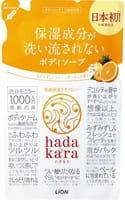 LION «Hadakara» Увлажняющее жидкое мыло для тела, с ароматом тропического фруктового сада, мягкая упаковка, 360 мл.