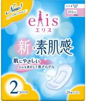 Daio paper Japan «Elis New skin» Классические гигиенические прокладки с мягкой поверхностью, без крылышек, нормал, длина 20,5 см, 2 х 28 шт.