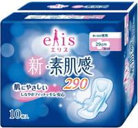 Daio paper Japan «Elis New skin Feeling» Ночные классические гигиенические прокладки с мягкой поверхностью, с крылышками, макси+, длина 29 см, 10 шт.