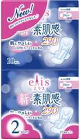 Daio paper Japan «Elis New skin Feeling» Ночные классические гигиенические прокладки с мягкой поверхностью, с крылышками, макси+, длина 29 см, 2 х 10 шт.