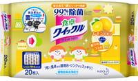 KAO «Quick Le» Влажные салфетки для дома, с дезинфицирующим эффектом, с тонким ароматом лимона, 20 шт., 20,5х28,5 см, мягкая упаковка.