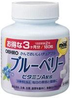 Orihiro Витамин А с черникой, 180 жевательных таблеток.